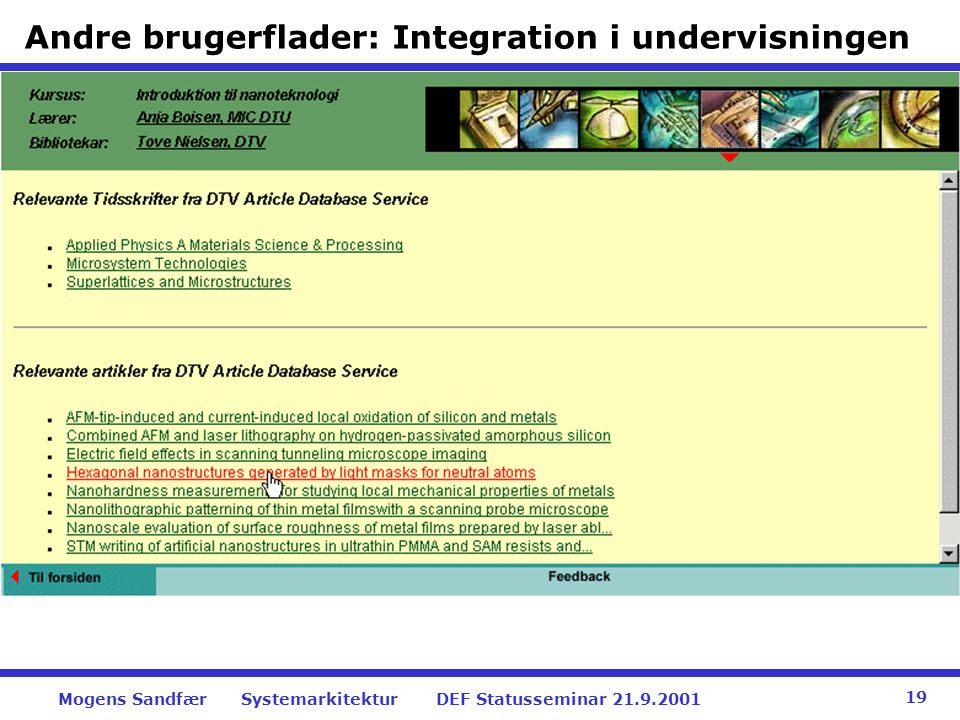 Andre brugerflader: Integration i undervisningen