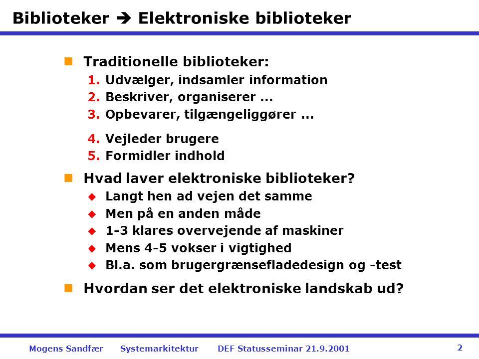 Biblioteker  Elektroniske biblioteker