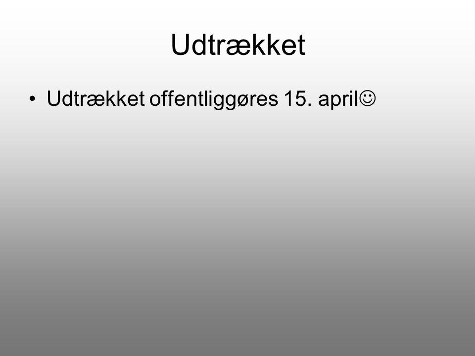 Udtrækket Udtrækket offentliggøres 15. april