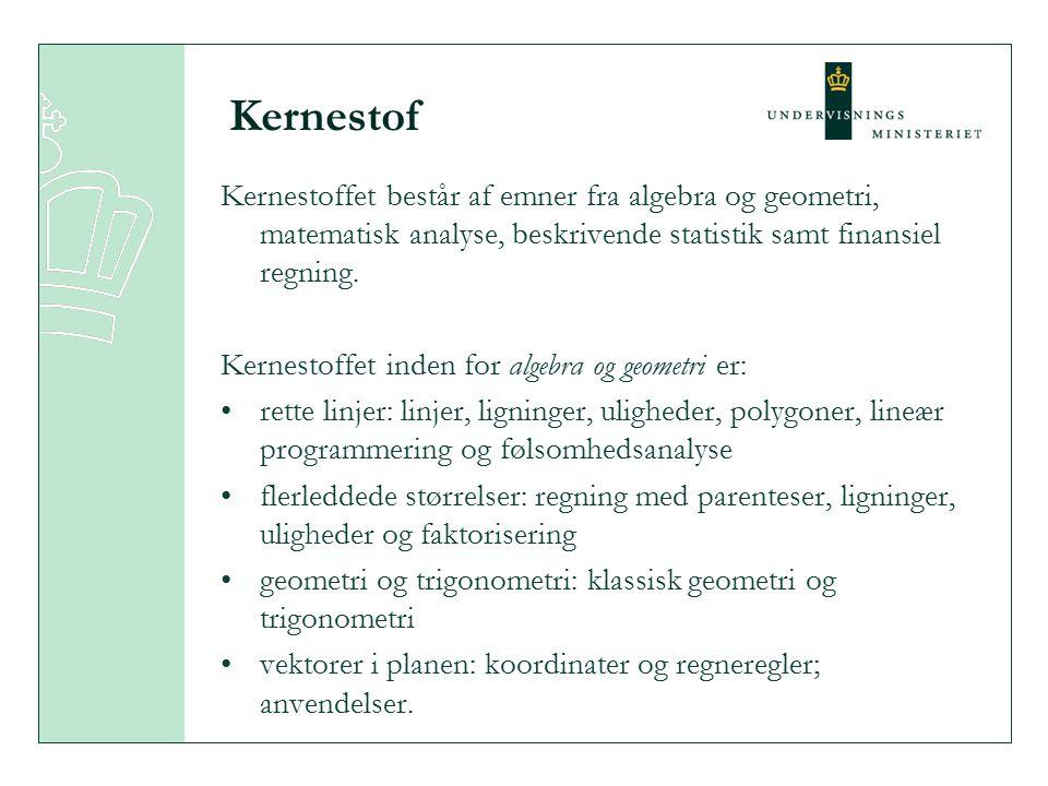 Kernestof Kernestoffet består af emner fra algebra og geometri, matematisk analyse, beskrivende statistik samt finansiel regning.