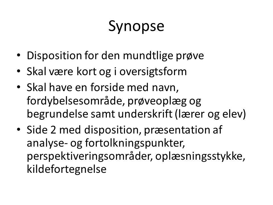 Synopse Disposition for den mundtlige prøve