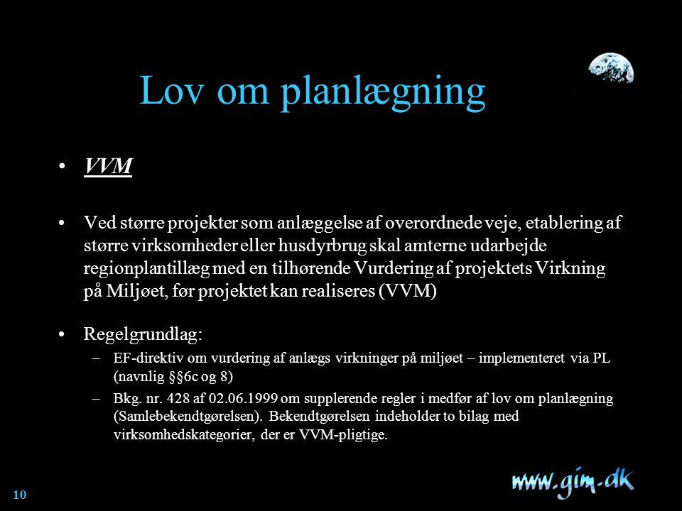 Lov om planlægning VVM.