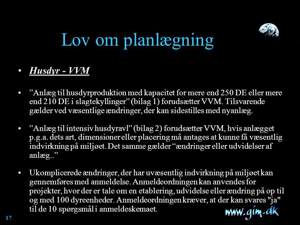 Lov om planlægning Husdyr - VVM