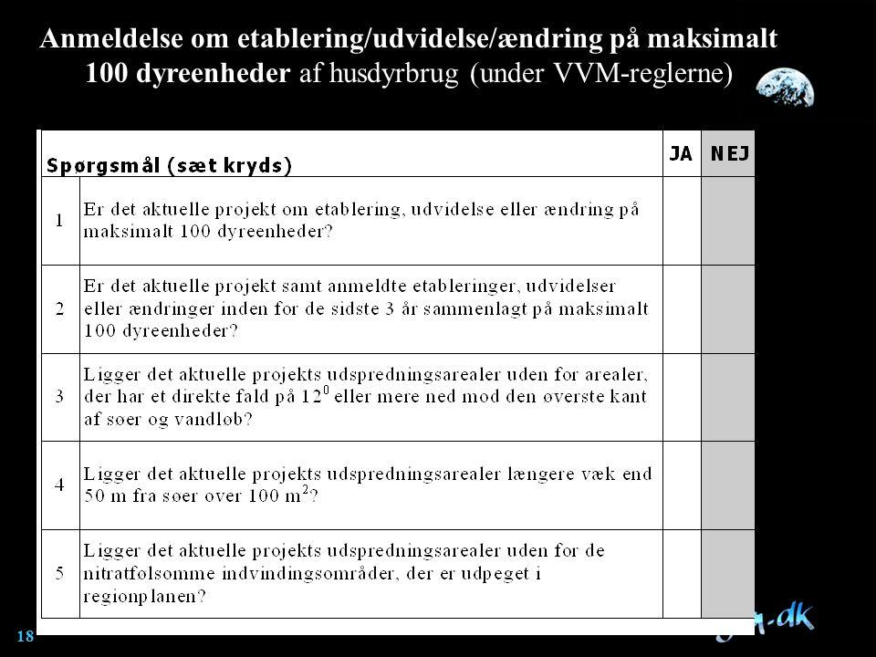 Anmeldelse om etablering/udvidelse/ændring på maksimalt 100 dyreenheder af husdyrbrug (under VVM-reglerne)