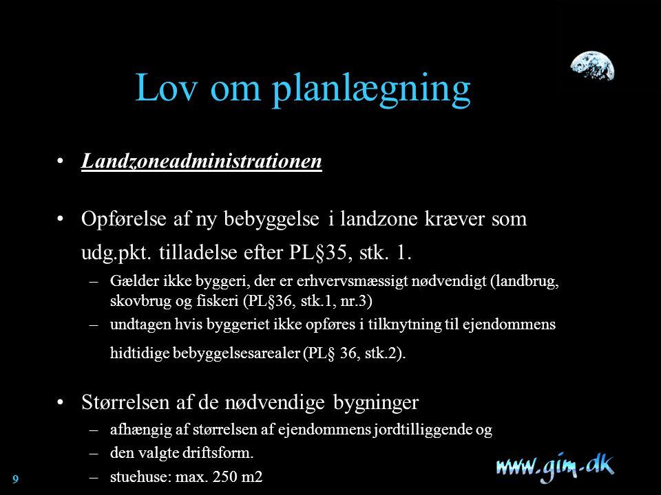 Lov om planlægning Landzoneadministrationen