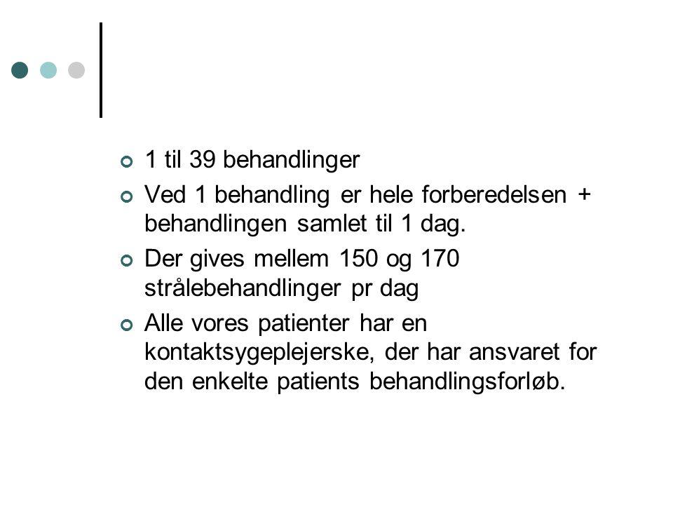 1 til 39 behandlinger Ved 1 behandling er hele forberedelsen + behandlingen samlet til 1 dag. Der gives mellem 150 og 170 strålebehandlinger pr dag.