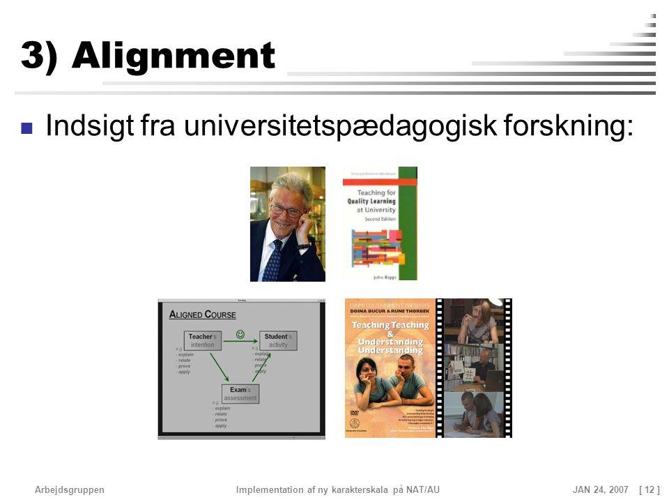 3) Alignment Indsigt fra universitetspædagogisk forskning: