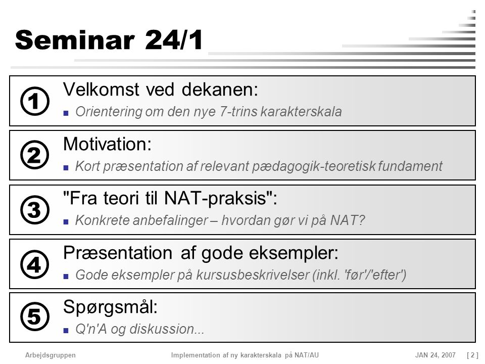 Seminar 24/1 1 2 3 4 5 Velkomst ved dekanen: Motivation: