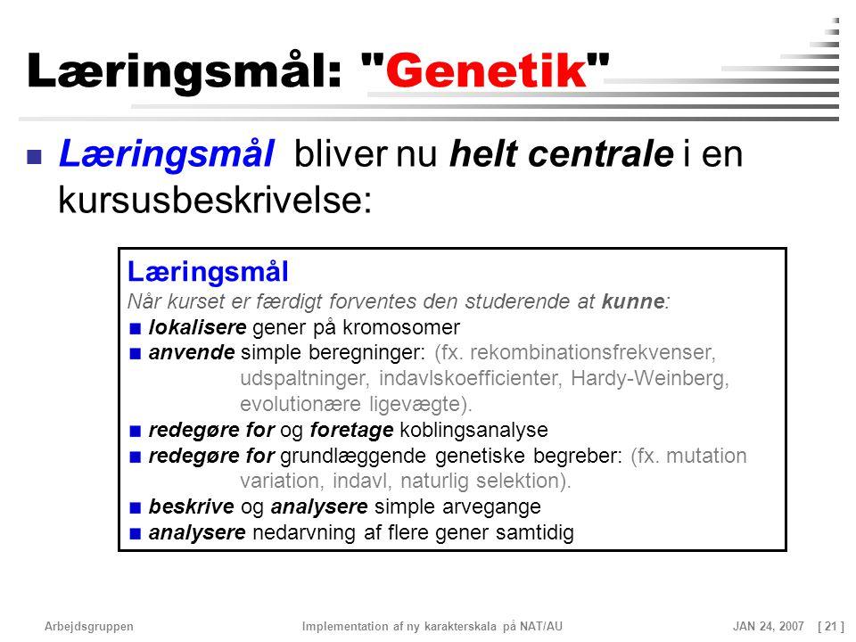 Læringsmål: Genetik Læringsmål bliver nu helt centrale i en kursusbeskrivelse: Læringsmål.