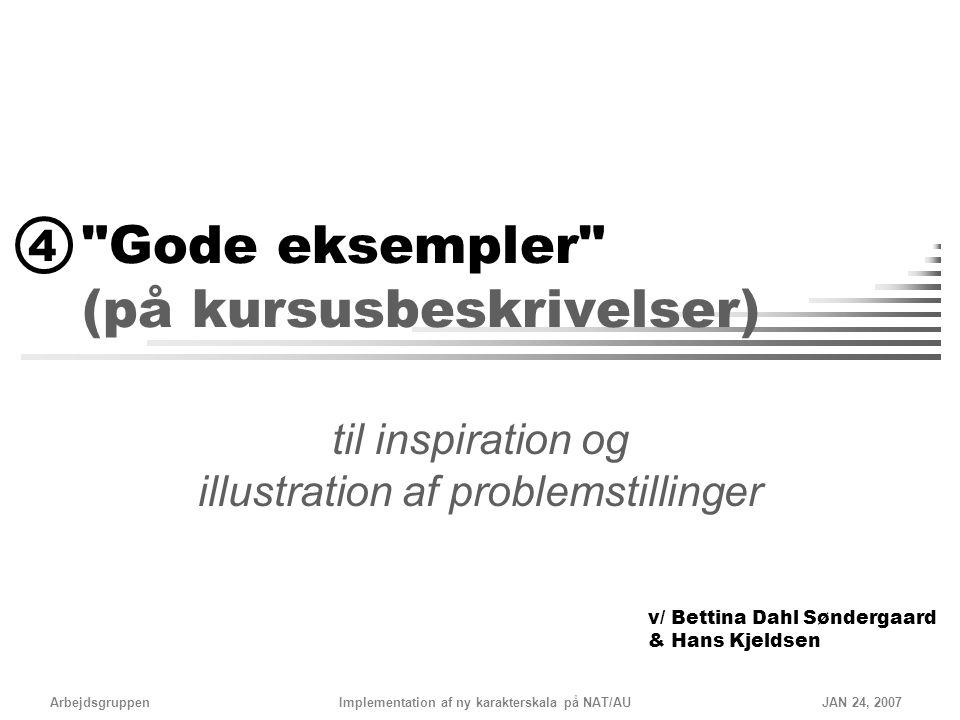 Gode eksempler (på kursusbeskrivelser)
