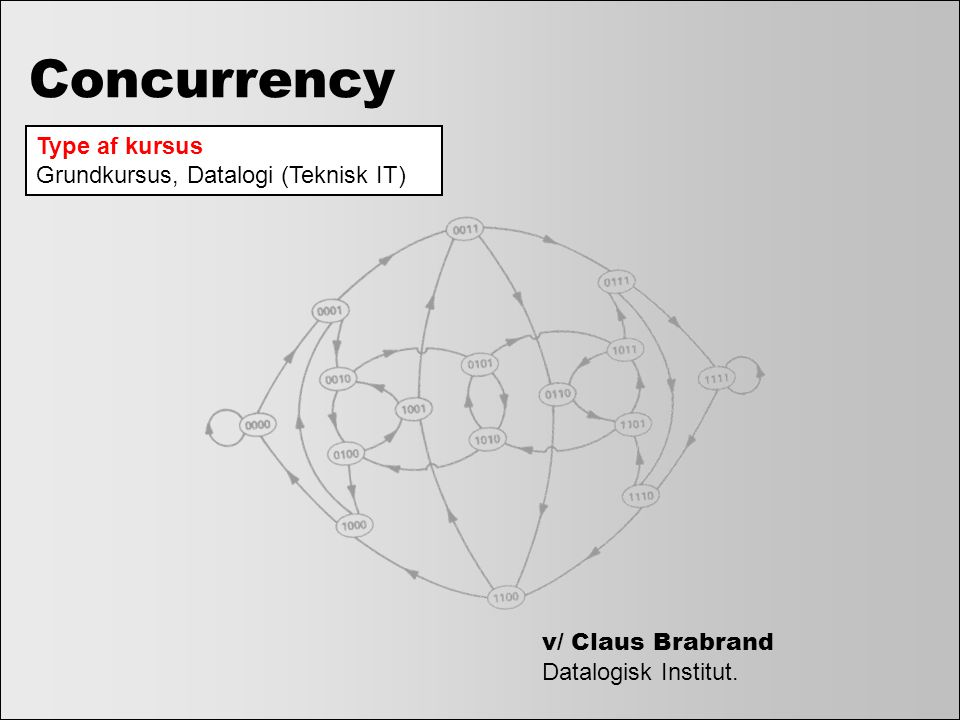 Concurrency Type af kursus Grundkursus, Datalogi (Teknisk IT)