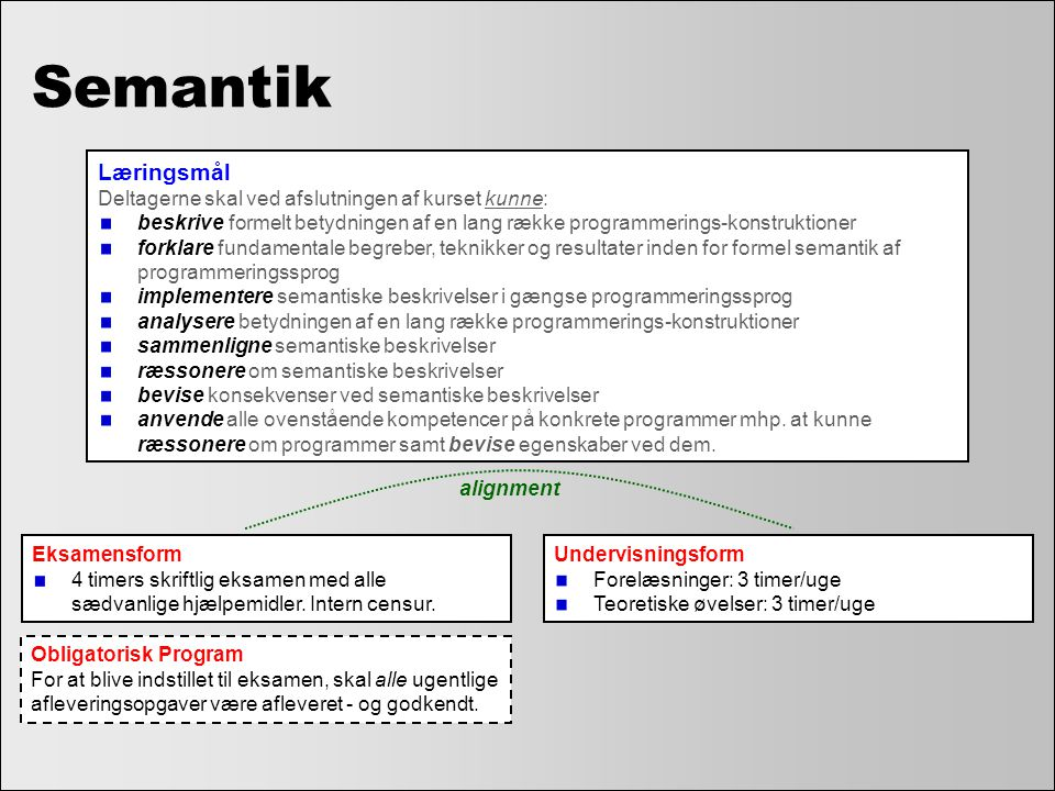 Semantik Læringsmål Deltagerne skal ved afslutningen af kurset kunne: