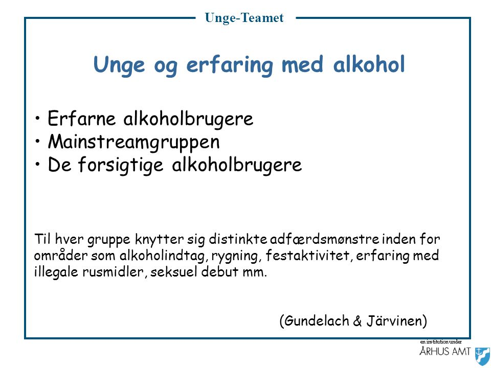 Unge og erfaring med alkohol