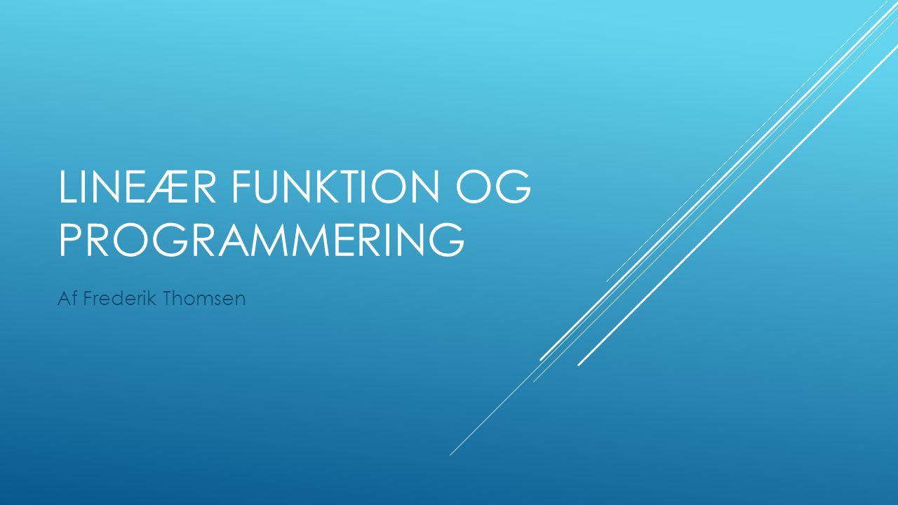 Lineær funktion og programmering