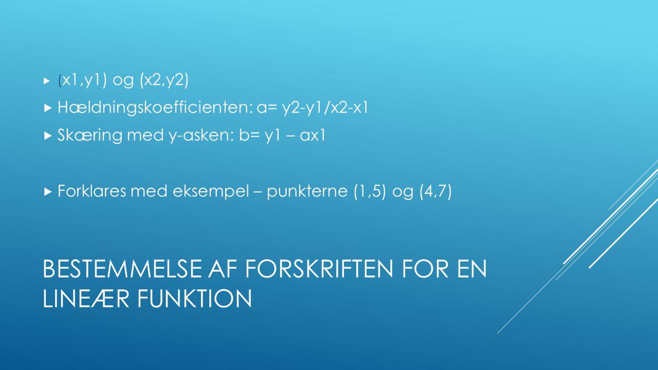 Bestemmelse af forskriften for en lineær funktion