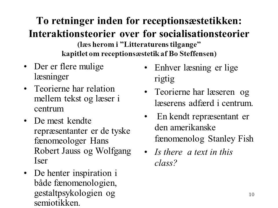 To retninger inden for receptionsæstetikken: Interaktionsteorier over for socialisationsteorier (læs herom i Litteraturens tilgange kapitlet om receptionsæstetik af Bo Steffensen)