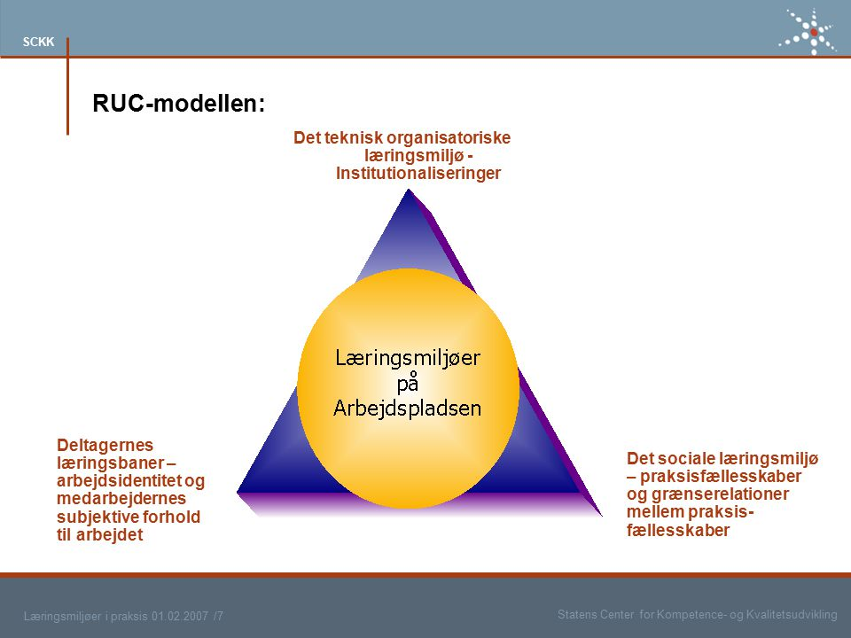 Det teknisk organisatoriske læringsmiljø - Institutionaliseringer