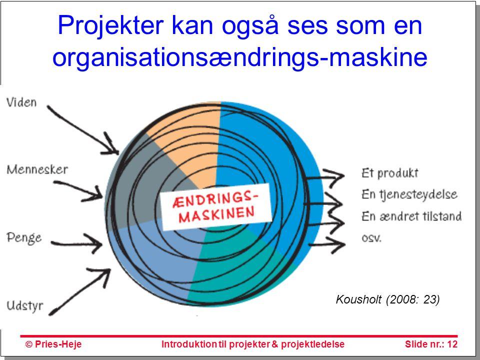 Projekter kan også ses som en organisationsændrings-maskine