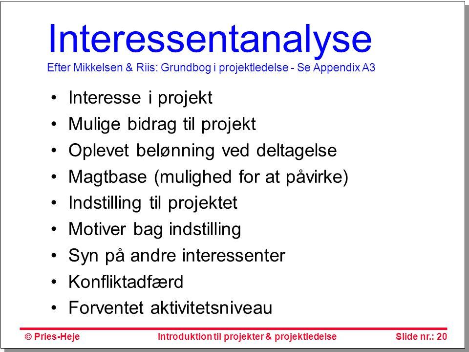 Interessentanalyse Efter Mikkelsen & Riis: Grundbog i projektledelse - Se Appendix A3