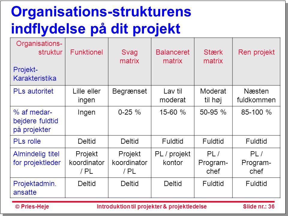 Organisations-strukturens indflydelse på dit projekt