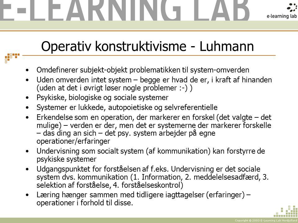 Operativ konstruktivisme - Luhmann