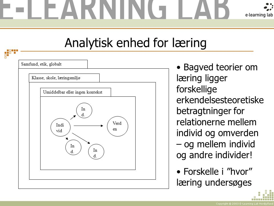 Analytisk enhed for læring