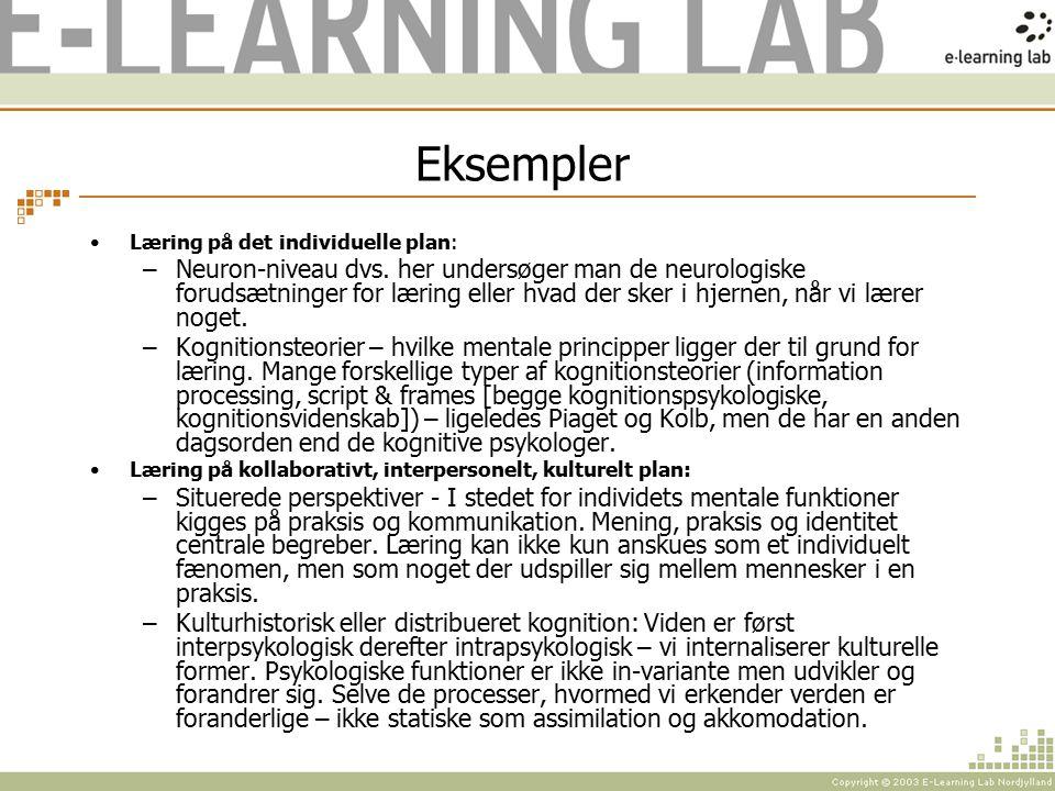 Eksempler Læring på det individuelle plan: