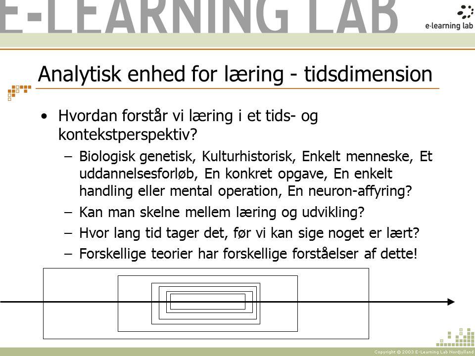 Analytisk enhed for læring - tidsdimension