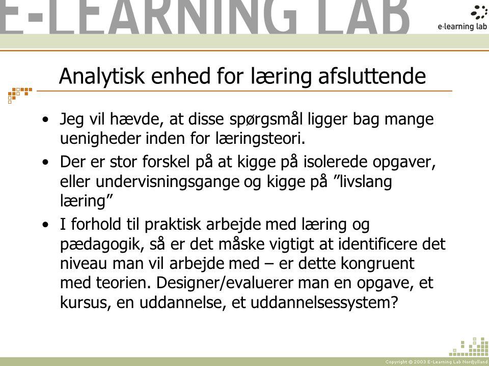 Analytisk enhed for læring afsluttende