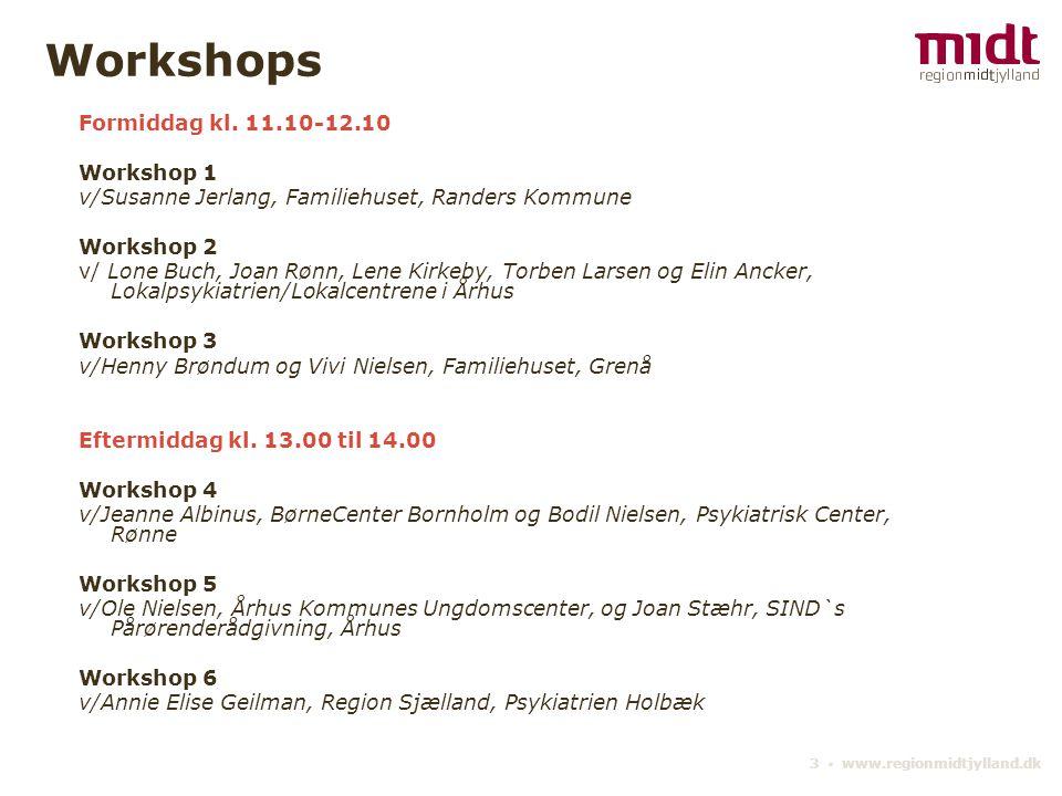 Workshops Formiddag kl. 11.10-12.10 Workshop 1