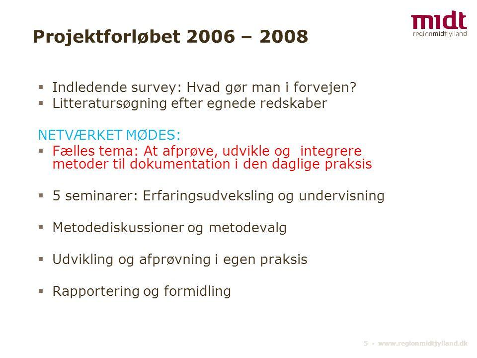 Projektforløbet 2006 – 2008 Indledende survey: Hvad gør man i forvejen Litteratursøgning efter egnede redskaber.