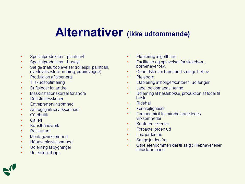 Alternativer (ikke udtømmende)