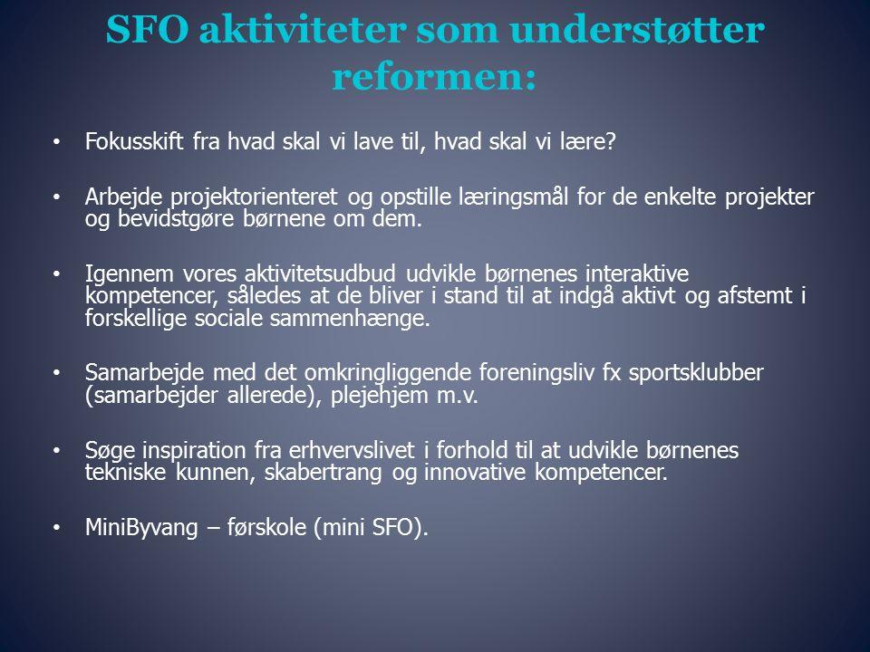 SFO aktiviteter som understøtter reformen: