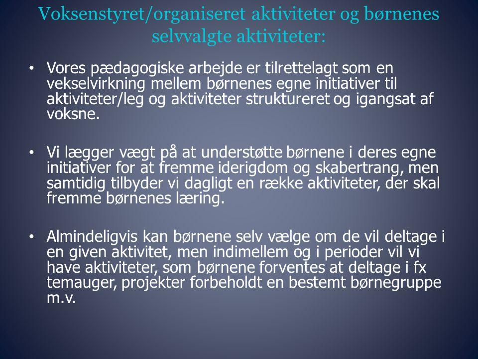 Voksenstyret/organiseret aktiviteter og børnenes selvvalgte aktiviteter: