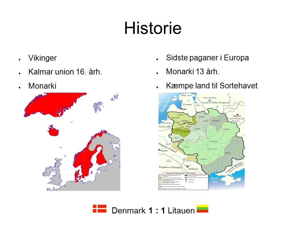 Historie Denmark 1 : 1 Litauen Vikinger Kalmar union 16. årh. Monarki
