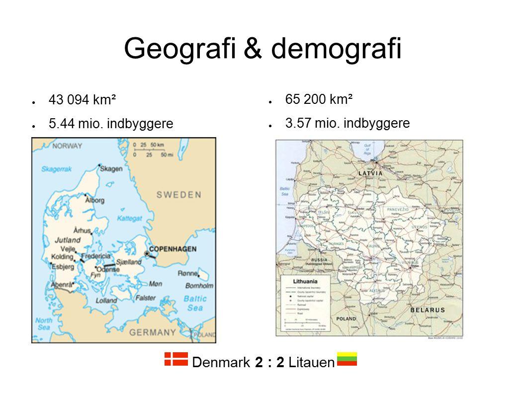 Geografi & demografi Denmark 2 : 2 Litauen 43 094 km²