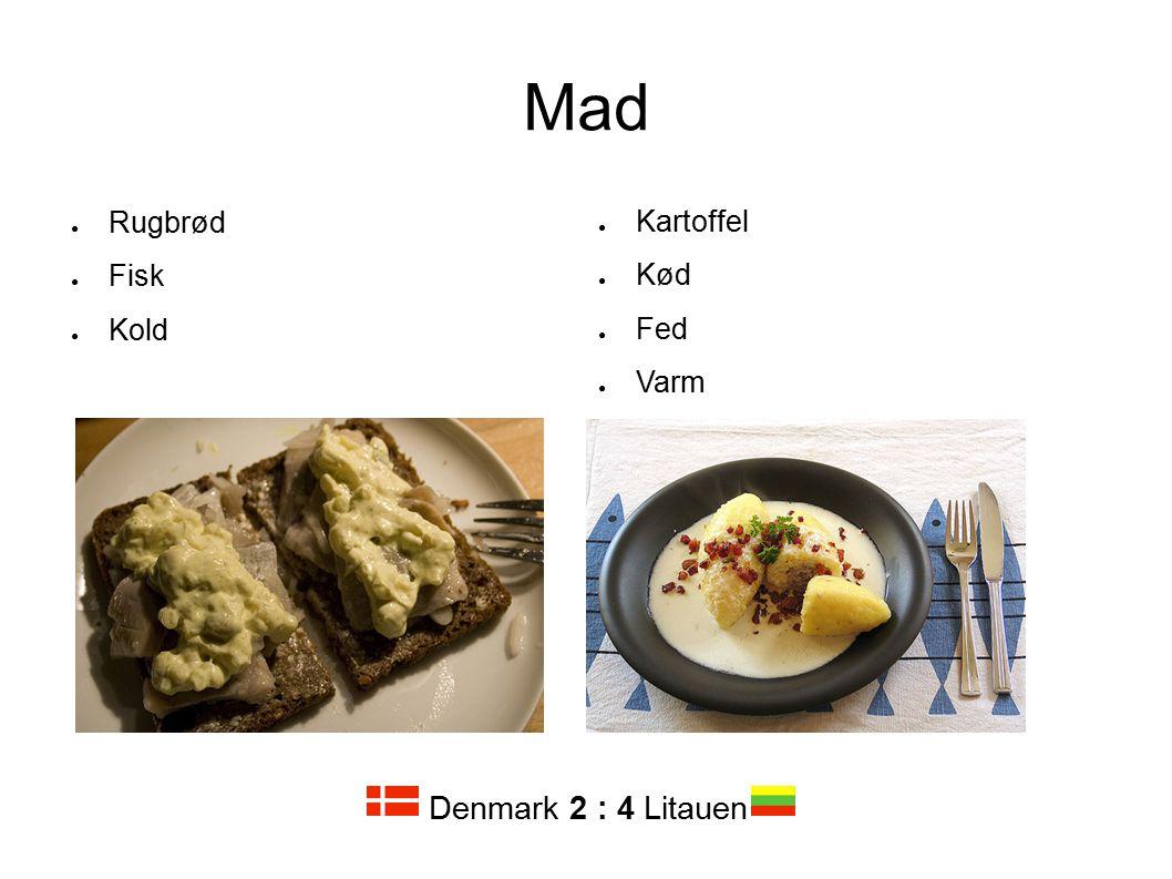Mad Rugbrød Fisk Kold Kartoffel Kød Fed Varm Denmark 2 : 4 Litauen