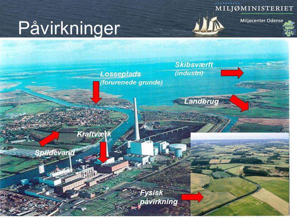 Påvirkninger Skibsværft Losseplads Landbrug Kraftværk Spildevand