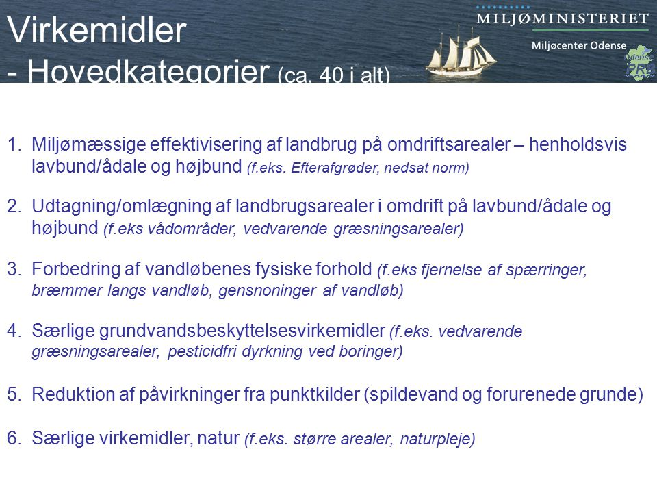 Virkemidler - Hovedkategorier (ca. 40 i alt)