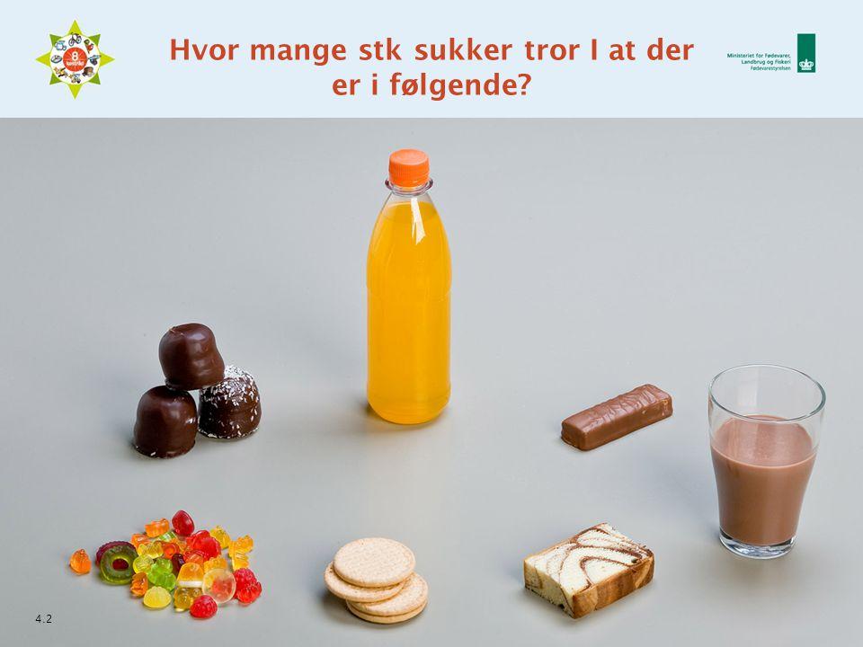 Hvor mange stk sukker tror I at der er i følgende