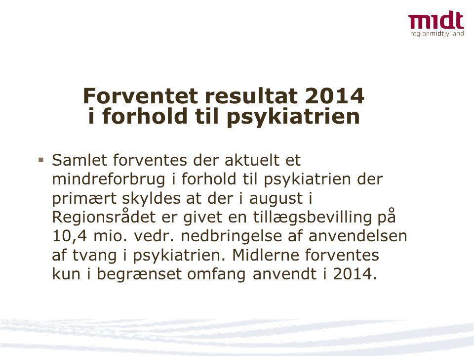 Forventet resultat 2014 i forhold til psykiatrien