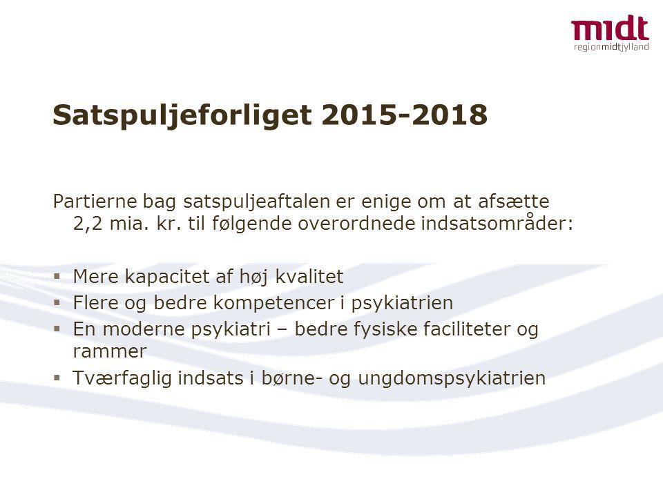 Satspuljeforliget 2015-2018 Partierne bag satspuljeaftalen er enige om at afsætte 2,2 mia. kr. til følgende overordnede indsatsområder: