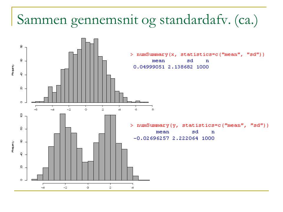 Sammen gennemsnit og standardafv. (ca.)