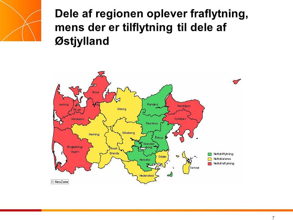 Dele af regionen oplever fraflytning, mens der er tilflytning til dele af Østjylland