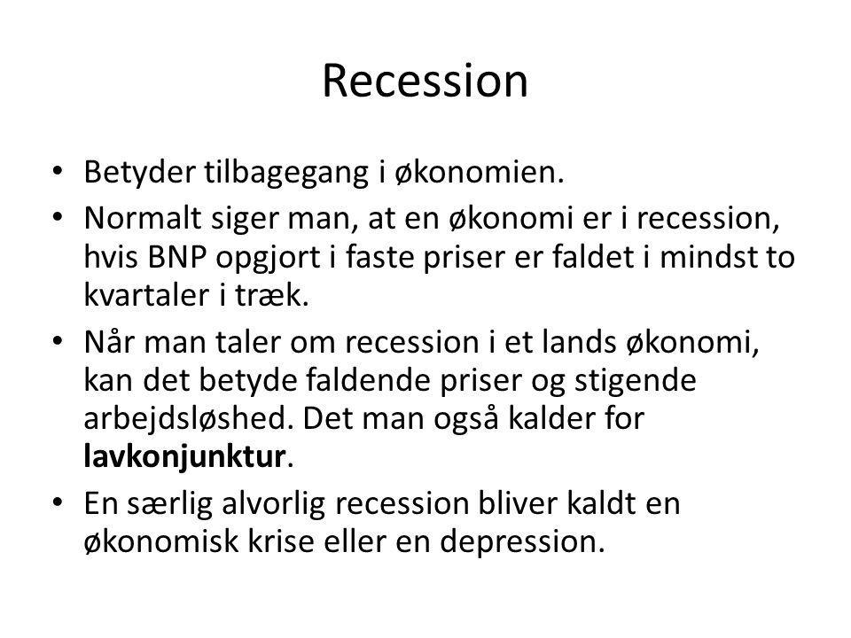 Recession Betyder tilbagegang i økonomien.