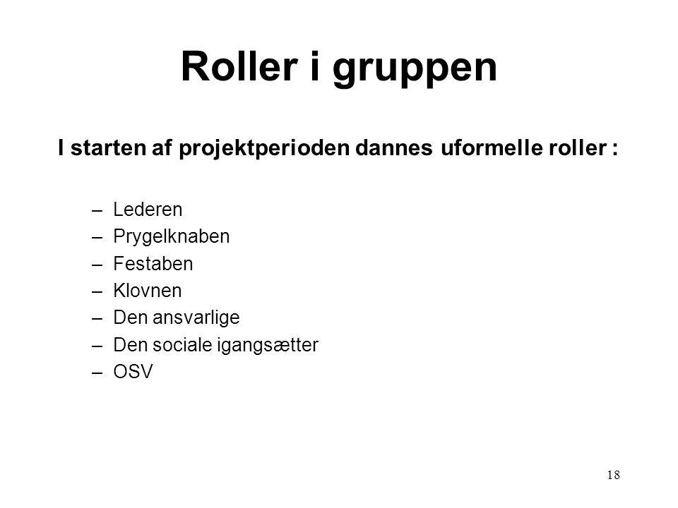 Roller i gruppen I starten af projektperioden dannes uformelle roller : Lederen. Prygelknaben. Festaben.
