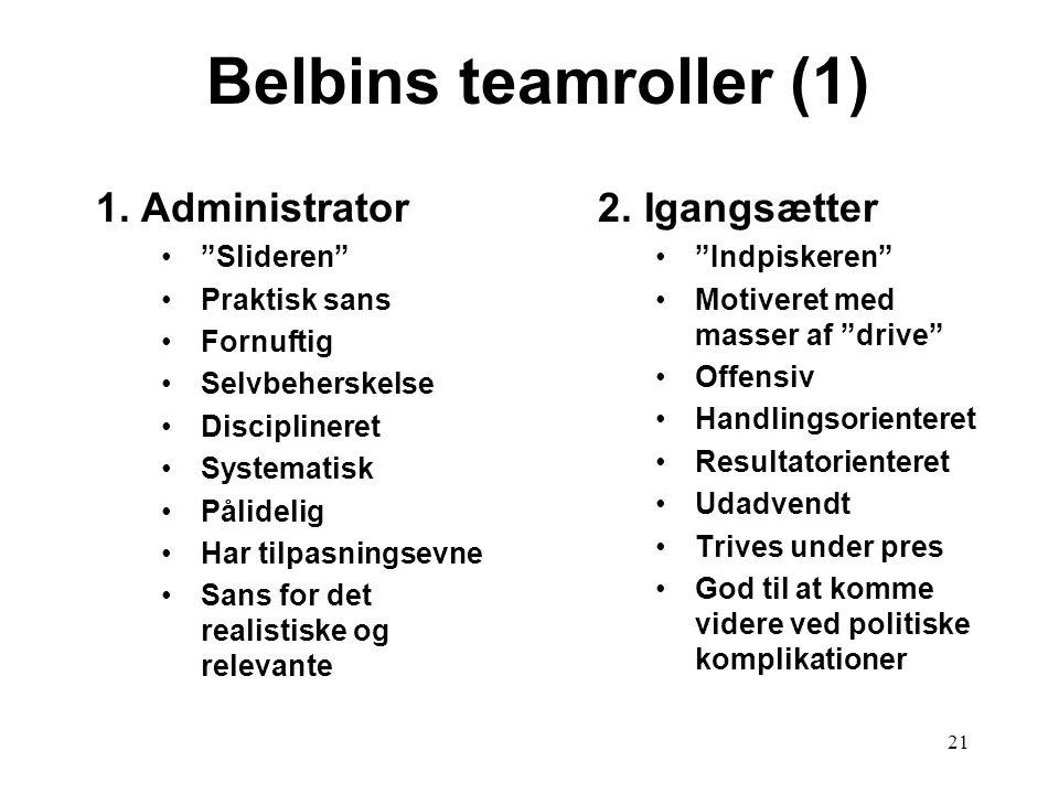 Belbins teamroller (1) 2. Igangsætter 1. Administrator Slideren