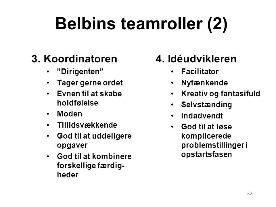 Belbins teamroller (2) 3. Koordinatoren 4. Idéudvikleren Dirigenten