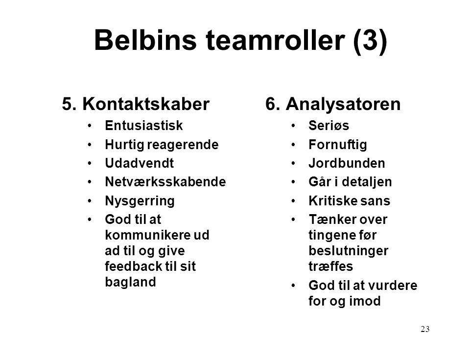 Belbins teamroller (3) 5. Kontaktskaber 6. Analysatoren Entusiastisk