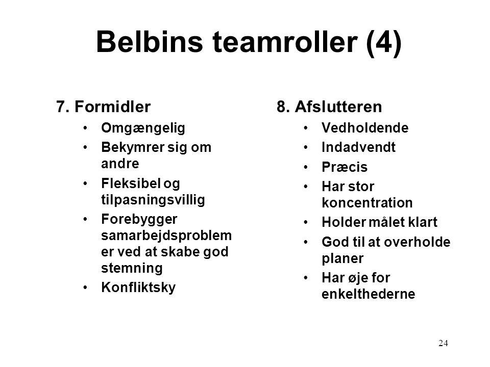 Belbins teamroller (4) 7. Formidler 8. Afslutteren Omgængelig